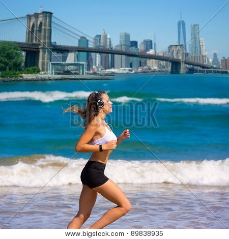 Brunette girl running in New York Brooklyn bridge photo mount