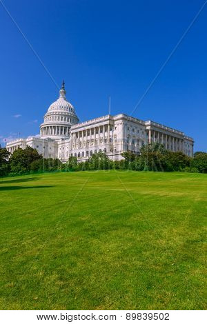 Capitol building Washington DC sunlight USA congress turf meadow US