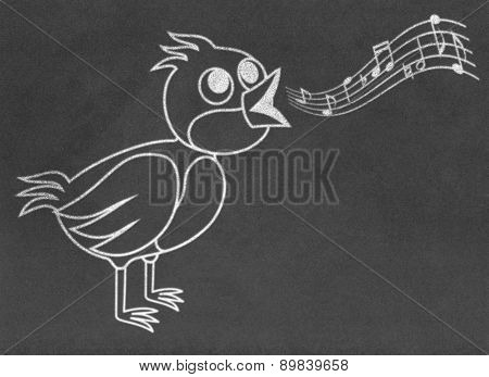 Singing bird on chalkboard
