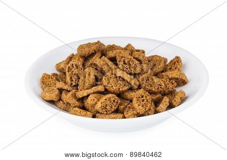 Small Rusks With Salt, Black Bread In Glass Saucer