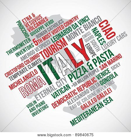 Italy Flag Word Vector