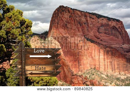 Love and Hate message