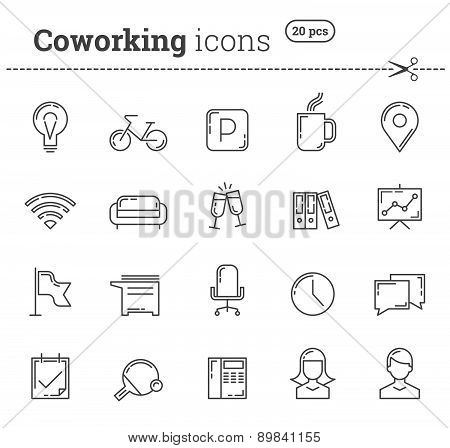Coworking icons set. Stock vector.