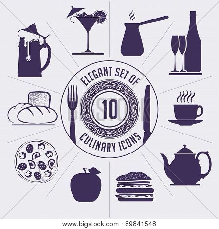 Set Of 10 Culinary Icons - Coffee Turk, Wine Bottle, Cup, Teapot, Hamburger, Apple, Pizza, Bakery, B
