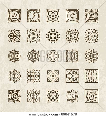 Set Of 25 Various Design Elements (crown, Lightning, Rays, Flower, Etc.) Into A Mono-line Style On A