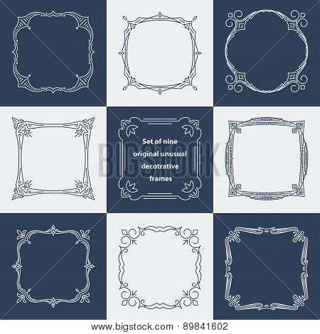 Set Of 9 Unusual Decorative Vintage Frames In Mono Line Style. Abstract Vector Illustration For Your