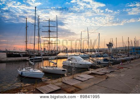Sailing Ships And Yachts Stand Moored In Varna