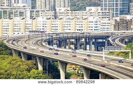 view on Hong Kong highway bridge at day