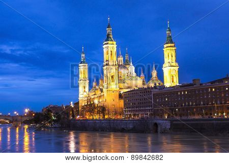 beautiful Saragossa in twilight. Spain, Aragon