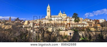 panorama of old Segovia, Spain