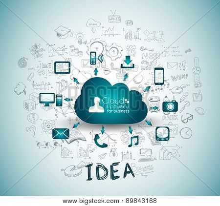 Cloud Computing with Business doodles Sketch background: infographics vector elements isolated, . It include lots of icons included graphs, stats, devices,laptops, clouds, concepts and so on.