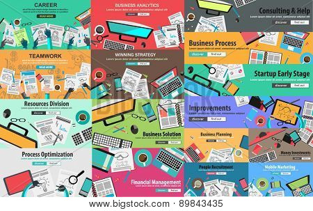 MEGA PACK of Flat Style Design Concepts for business strategy and career. Ideal for corporate brochures, flyers, digital marketing, product or idea presentations, web banners and so on .