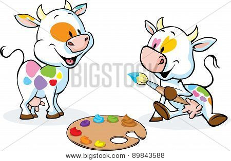Two Original Cows Painted Spots On Their Body - Funny Vector Illustration