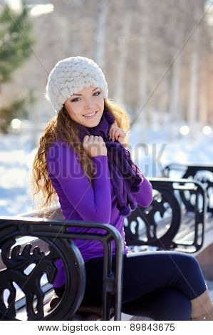 Beautiful Brunette Girl On A Walk In Winter