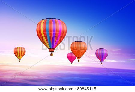 soar hot air balloons on blue sky