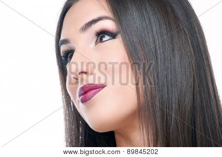 Beautiful young brunette with makeup