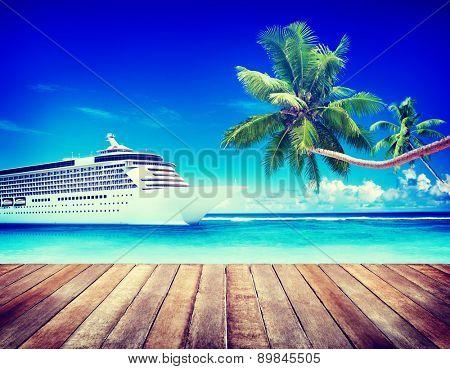 Summer Seascape Skyline Cruise Sea Route Destination Concept