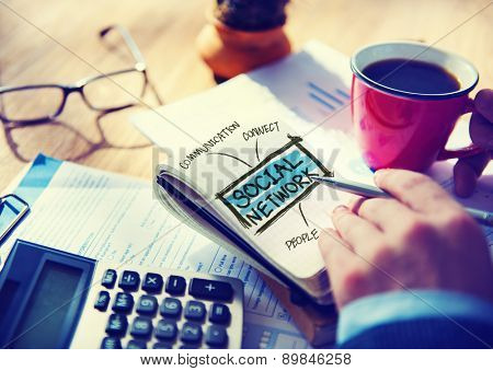 Social Network Accounting Office Working Home Writing Concept