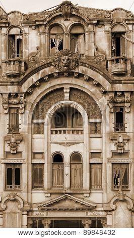 Portugal. Porto City. Old House. In Sepia Toned. Retro Style