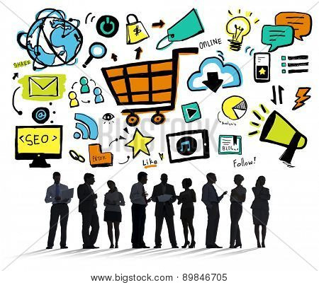 Business People Online Marketing E-commerce Discussion Concept