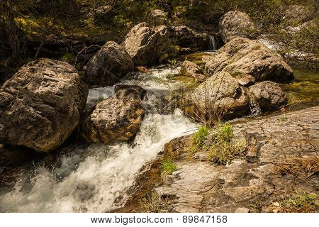 River With Waterfalls On Mount Olympus, Northern Greece