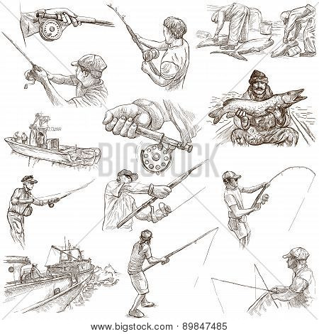 Fishing - Freehand Sketches, Originals On White