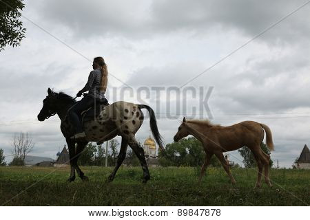 MOZHAYSK, RUSSIA - JUNE 18, 2011: Horse rider in front of the Luzhetsky monastery in Mozhaysk near Moscow, Russia.
