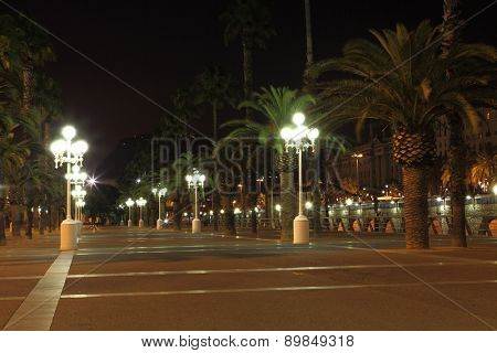 Empty promenade with night lamps, Barcelona, Spain
