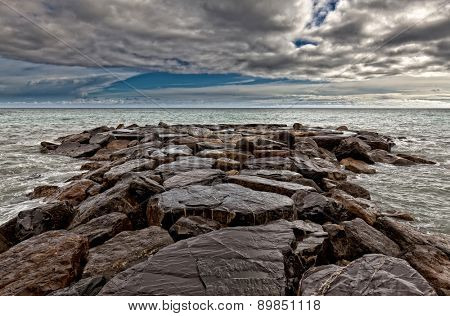 rocks reaf and sea background