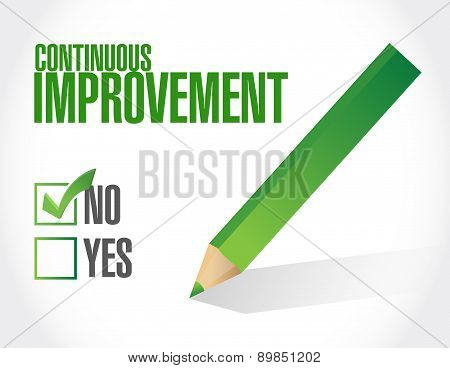 No Continuous Improvement Approval Sign Concept
