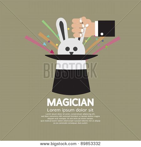 Magician's Hand With Rabbit In The Hat.