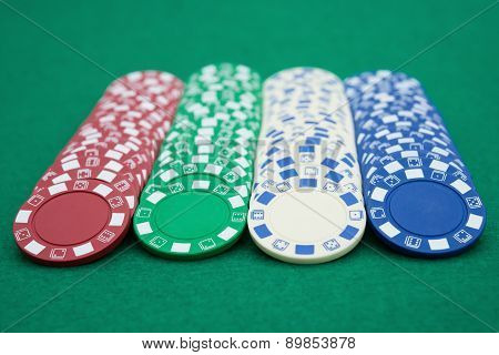 Lots Of Poker Chips On Casino Table