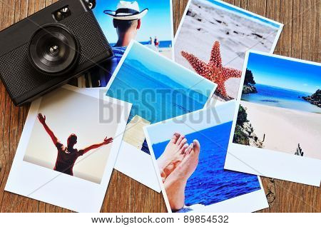 high-angle shot of a retro camera and some photos, shot by myself, of a young man at the beach and some of other beach scenes, placed on a rustic wooden table