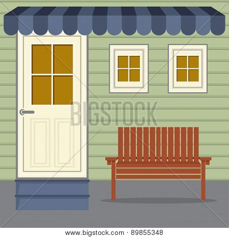 Wooden Chair Under Stripes Awning.