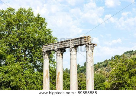 close up of Roman Temple, Riez, Provence-Alpes-Cote d''Azur, France