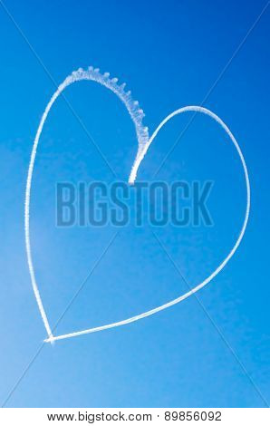 Romantic Heart Written In The Sky By An Aircraft