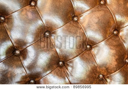 Brown leather upholstery sofa background for decoration.