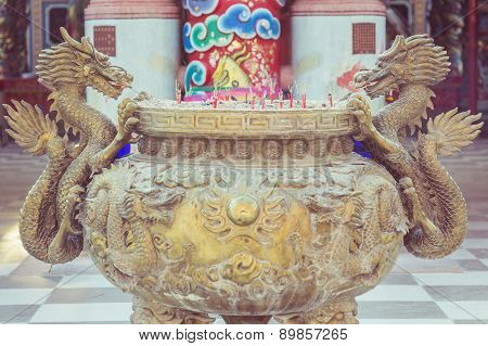 Steel Dragon Statue On Incense Bucket In Chinese Temple