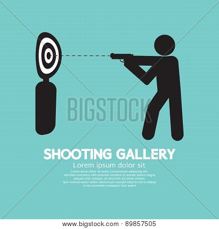 Gun Athlete At Shooting Gallery Symbol.