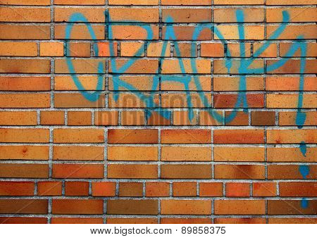 Brick Wall With Drug Graffiti