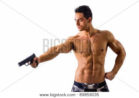 Athletic Topless Man Holding Handgun, Isolated on White