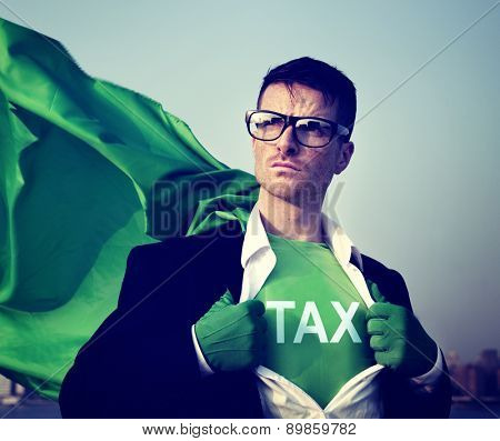 Strong Superhero Businessman TAX Concept