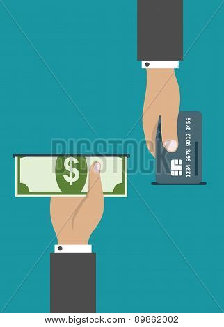 ATM payment by credit card or cash