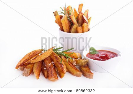 french fries and ketchup