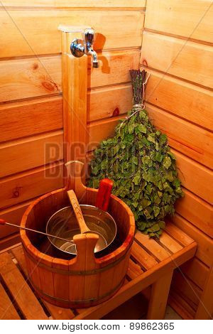 traditional sauna stuff -  birch whisk and a bucket