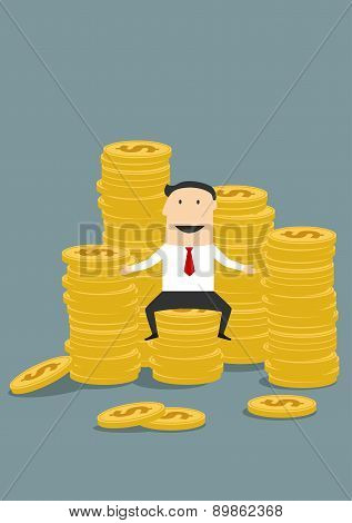 Successful wealthy businessman sitting on money