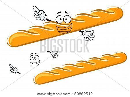 Happy cartoon baguette character with waving hands