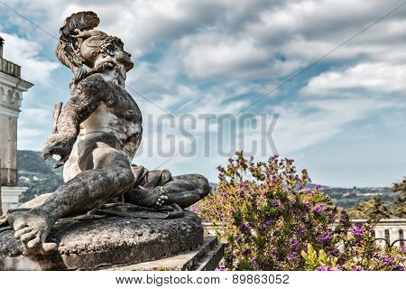 Statue of Wounded Achilles in the garden of Achillion palace on Corfu island, Greece