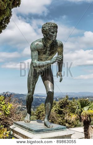 A statue of 'The Runner' in the garden of Achilleion in Corfu palace