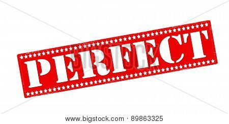 Rubber stamp with word perfect inside vector illustration